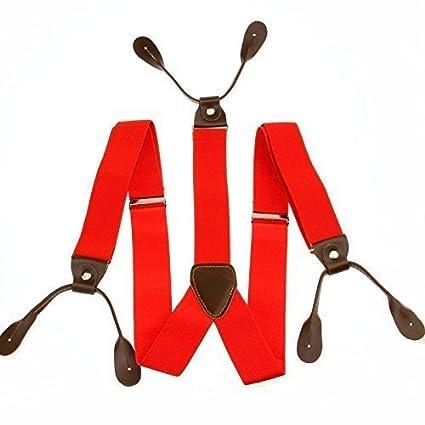 Trimming Shop 25mm breit Kinder Hosenträger Lycra Elasthan geknöpft Loch verstellbarer elastischer Hose Jeansshorts Strapshalter für Jungen y-rücken One size