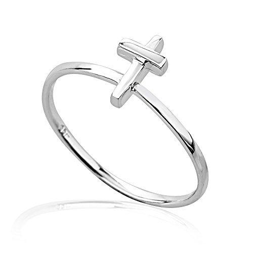Chuvora 925 Sterling Silver Vertical Lines Cross Ring, Size 6 by Chuvora