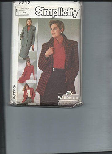 - Simplicity 7717 Sizes 16, 18, 20 Jiffy Wardrobe - Pants, Skirt, Loose-Fitting Unlined Jacket & Knit Top