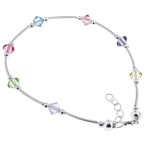 (Gem Avenue 925 Sterling Silver Bicone Swarovski Elements Multicolor Crystal 9 to 10 inch Adjustable Anklet Ankle Bracelets for Women)