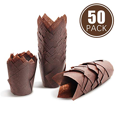 (Cupcake liner,Cupcake wrappers,Parchment paper cupcake liners, Royal Brown Tulip Style Baking Cups, Medium, Sleeve of 50)