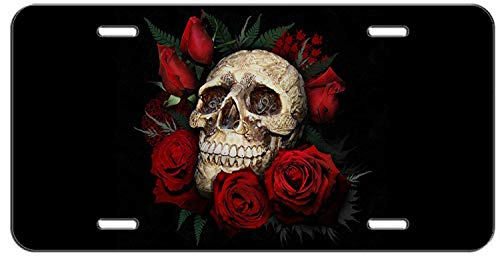 Auto CJX Skull and Roses Front Metal Aluminum License Plate Vanity car tag Home Door Sign 6