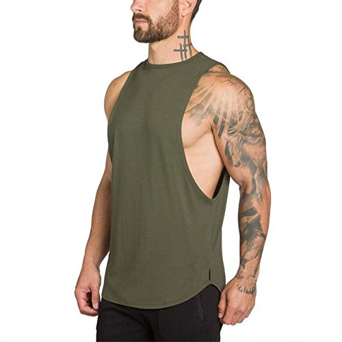 (JoofEric Men's Muscle Cut Workout T-Shirt Fitness Gym Bodybuilding Tank Tops (US M/Asian Tag L, Y114_Army Green))