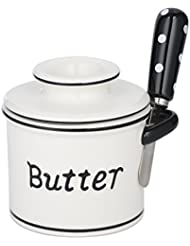 The Original Butter Bell Crock and Spreader by L. Tremain, Parisian Polka Dot Collection - Black/White