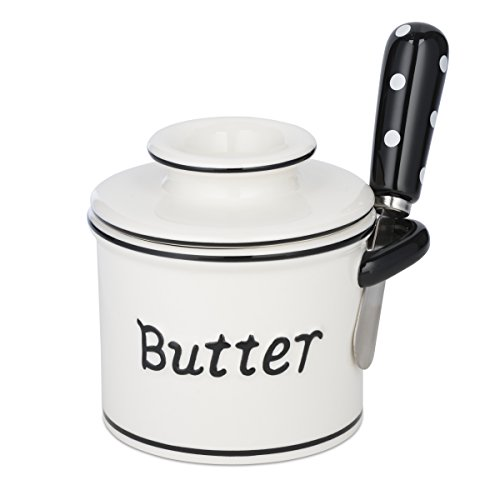 The Original Butter Bell Crock and Spreader by L. Tremain, Parisian Polka Dot Collection - Black/White by Butter Bell (Image #5)