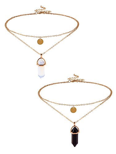 Mudder Hexagonal Gemstone Necklace Necklaces