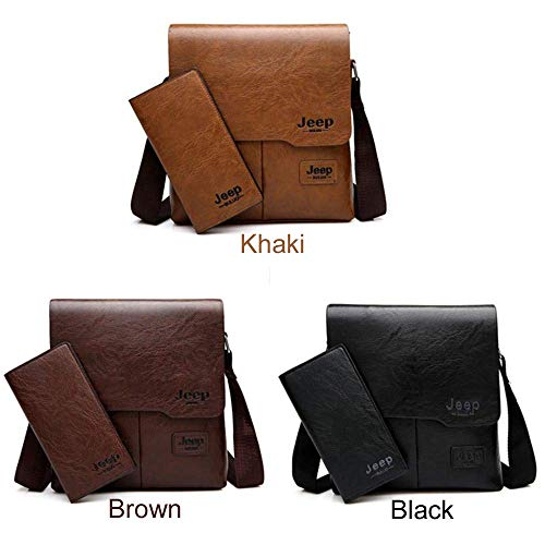 JEEP BULUO Messenger Bag 2-Set Men PU Leather Shoulder Bags Business Crossbody Casual Bags Famous Brand for Unisex (Small, Khaki)