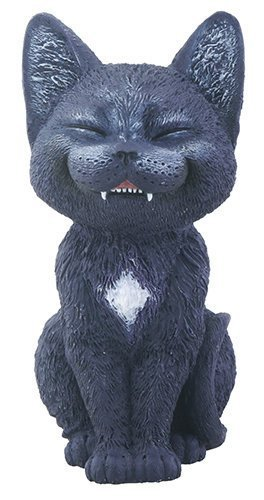 Black Laughing Kitty Cat Teehee Themed Decorative Figurine - Cat Figurine Statue