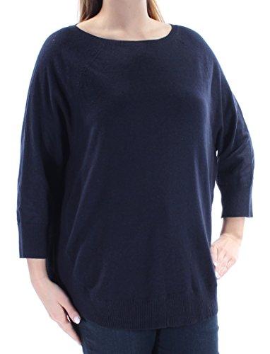 Style & Company $50 Womens New 1132 Navy 3/4 Sleeve Jewel Neck Sweater L ()