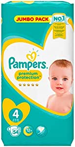 PAMPERS Pañales Premium Protection, talla 4 Maxi (9 – 14 kg), Jumbo Pack, 1er Pack (1 x 54 unidades): Amazon.es: Salud y cuidado personal