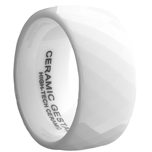 (White Ceramic Ring by CERAMIC GESTALT - 10mm Width. Faceted Design. Size 11 - RW10F11)