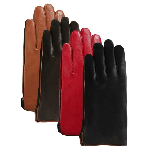 Luxury Lane Women's Contrast Piping Cashmere Lined Lambskin Leather Gloves - Tobacco M