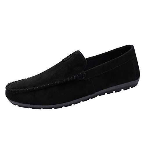 Xinantime Women Flat Single Shoes Ladies Leisure Suede Slip-On Shoes Peas Round Toe Boat Shoes Black