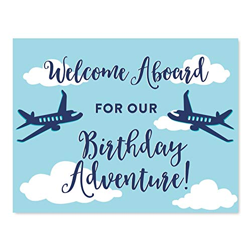 Andaz Press Personalized Blue Airplane and Clouds Birthday Party Collection, Party Sign, Unframed 8.5x11-inch, Welcome Aboard for Our Birthday Adventure!, 1-Pack