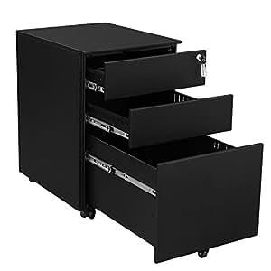 songmics steel file cabinet 3 drawer with lock mobile pedestal under desk fully. Black Bedroom Furniture Sets. Home Design Ideas
