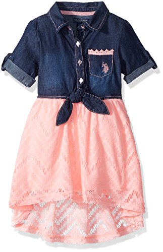 Girl Apricot - U.S. Polo Assn. Girls' Big Casual Dress, for for Look lace Apricot, 12