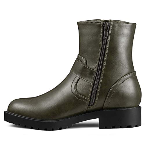 Women's Calf Chunky K Green Double Buckle Heel Boots Allegra Mid a5Aw0