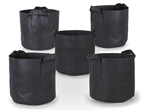- 247Garden 5-Pack 5 Gallon Grow Bags/Aeration Fabric Pots w/Handles (Black)
