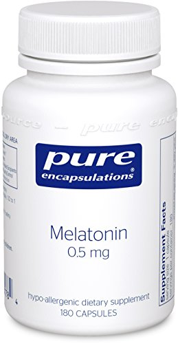Pure Encapsulations - Melatonin 0.5 mg - Hypoallergenic Supplement Supports the Body's Natural Sleep Cycle* - 180 - Capsules 0.5 Mg