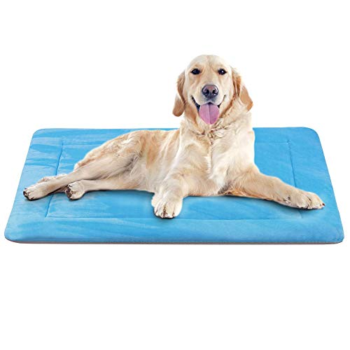 Dog Bed Large Crate Pad Mat 42 In- Machine Washable Anti-Slip Fleece Mattress Luxury Color,Blue L For Sale