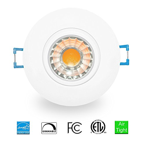 3 inch Gimbal Recessed LED Downlight COB Ceiling Dimmable Spotlight, Air-Tight, CCT 3000K, 8W, 600LM, 120V, cETL Listed & Energy Star, Adjustable LED Retrofit Lighting Fixture, Wish Lighting, 1 Pack