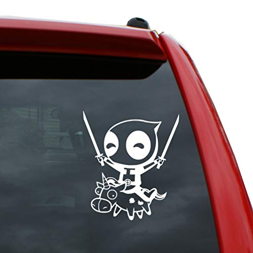 "Deadpool on Unicorn - 5"" Tall Vinyl Decal Window Sticker for Cars, Trucks, Windows, Walls, Laptops, and More."