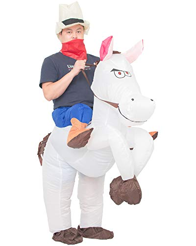 JYZCOS Inflatable Cowboy Costume Western Whit Horse Fancy Dress for Men Women Halloween Party Suit (Adult White) -