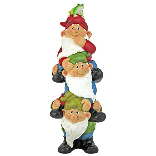 Stacked Frogs - Design Toscano Garden Gnome Statue - Tower of Three Gnomes - Outdoor Garden Gnomes - Funny Lawn Gnome Statues