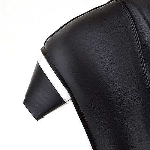 HAOLIEQUAN Frauen Oberschenkel Hohe Stiefel Winter Warme Schuhe Frau Schnalle Schnalle Schnalle Wohnungen Lange Stiefel Mode Runde Kappe Schuhe Größe 33-43 c93bc1