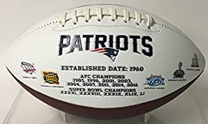New England Patriots Embroidered Logo Signature Series Full Size Football - with Super Bowl 51 LI logo and final score