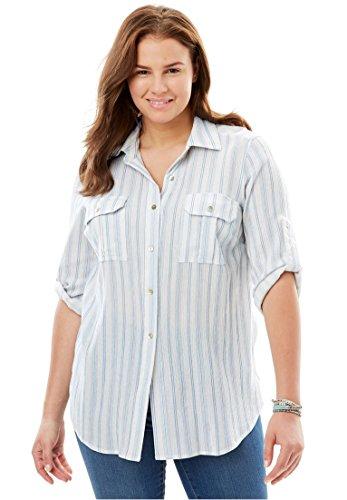Women's Plus Size Cotton Gauze Shirt Blue Cloud (Tab Pocket Capri)