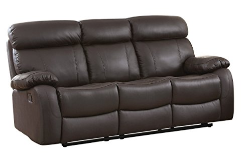 Match Vinyl Brown Leather (Homelegance Pendu Reclining Sofa Top Grain Leather Match, Brown)