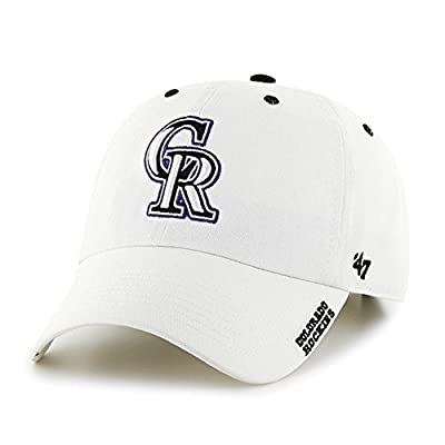 Licensed MLB Colorado Rockies Clean Up Ice Style Garment Washed Cotton Adjustable Fabric Strap Adult White Baseball Hat/Cap (Gift Box Included)