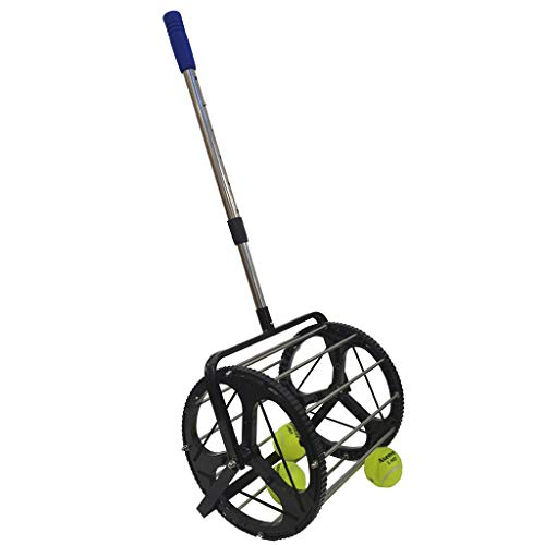 XGao Golf Tennis Ball Picker Baseball Collector Pick Up Over 55 Balls 2-in-1 Ball Hopper Retriever Unique Mower Collector Box Trainer with Lockable Lid Durable Convenient Heavy Duty (Black)