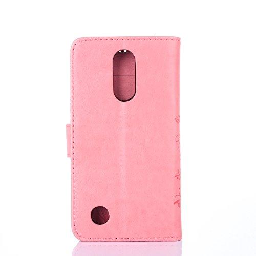 Funda LG K4 2017, Cáscara LG K4 2017, Alfort 2 en 1 Casco de Protección Relieve Carcasa PU Cuero Sintético + 1 raíz horca Cierre Magnético Carcasa del teléfono con una función de soporte y la cartera  Rosado