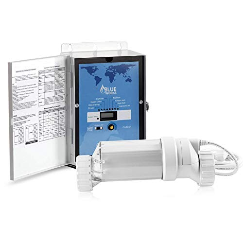 BLUE WORKS Pool Chlorine Generator Chlorinator BLH40 | for 40k Gallon Pool | with Flow Switch and Salt Cell | Cell Plates Made in USA | 5 Year Limited Warranty (Clear) (Water Pool Chlorinator)