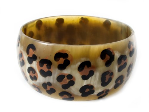 Maisha Beautiful African Fair Trade Up cycled Horn Leopard Animal Print Painted Wide Bracelets Bangles
