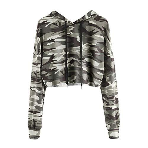 Femme Sweats  Capuche Court ?Oyedens Casual Sweatshirt  Manches Longues Femme Tumblr Vetement Femme Pas Cher Sports Camouflage Tops Blouse Fille Manteau Femme Camouflage