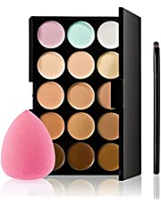 Mistaha 15 Colors Concealer Palette Professional Contour Eyeshadow Face Cream Makeup Foundation Kit with Sponge Puff & Makeup Brush for Face Concealing