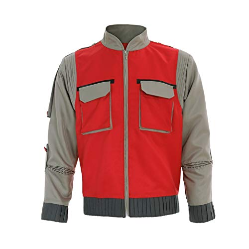 CosplayDiy Men's Jacket for Back to The Future Marty McFly Cosplay Outfit Red XXXL]()