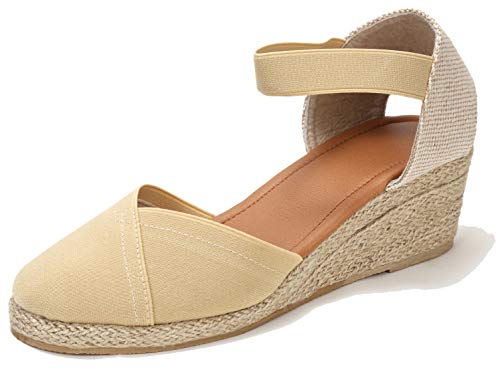 U-lite Women's Close-toeAnkle-Strap Summer Outdoor Casual Wedges Sandals White6 Beige