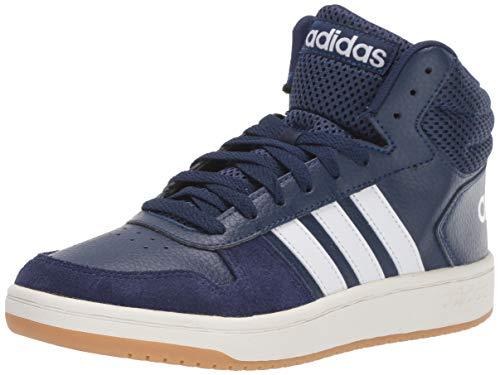 adidas Men's Hoops 2.0 Mid Sneaker, Dark Blue Cloud White, 10.5 M US