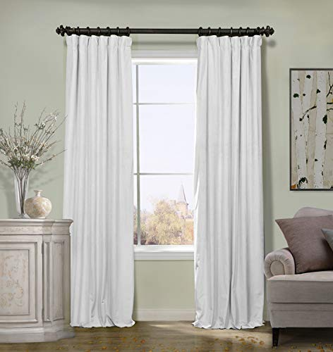 ChadMade 50W x 96L Inch Solid Matt Luxury Heavyweight Velvet Curtain Drape with Blackout Lining Flat Hook or Ring Clip Heading for Track, Off White (1 Panel)