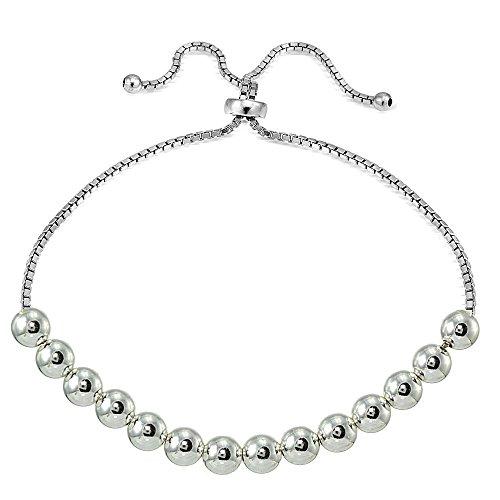 (Sterling Silver 6mm Bead Adjustable Bracelet)
