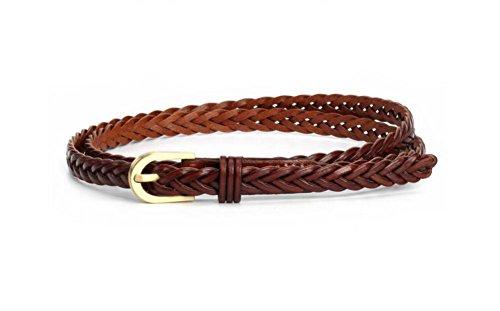 Women Braided Belts Faux Leather Woven Belt For Girls Fashion Waist Buckle Belt Strap (Faux Leather Belt Strap)