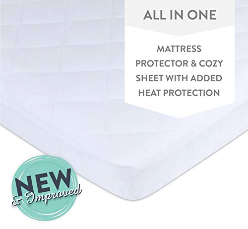 Ely's &Co. Waterproof Quilted Pack N Play, Mini Crib Mattress Pad Cover - 100% Jersey Knit Cotton Playard Mattress Pad Protector Doubles as a Sheet with a Dryer Safe Waterproof Lining (White) ()