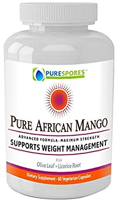 PURE AFRICAN MANGO: Super Strength African Mango Extract for Weight Loss + Diet Cleanse, Plus a Potent Mix of Olive Leaf and Licorice Root - Maximum Fat Burning + Appetite Suppressant - 60 Veggie Caps