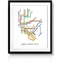 Modern New York City Subway Map Poster, Minimalist New York City Metro Map, Minimalist Line Art, Modern Metro Map of NYC, NYC Poster