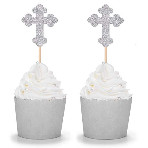 24 Counts Silver Glitter Cross Cupcake Toppers Christian Party Religious Comunication Decorations]()