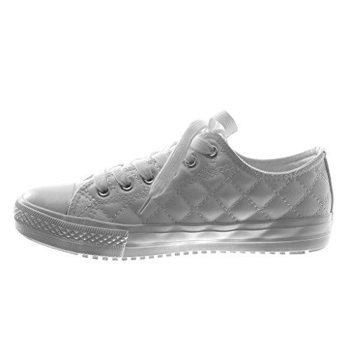 Moda Piatto Tacco Tacco 5 Angkorly cm Sneaker Bianco Trapuntata Tennis Donna Scarpe 1 8v0YwqFY5